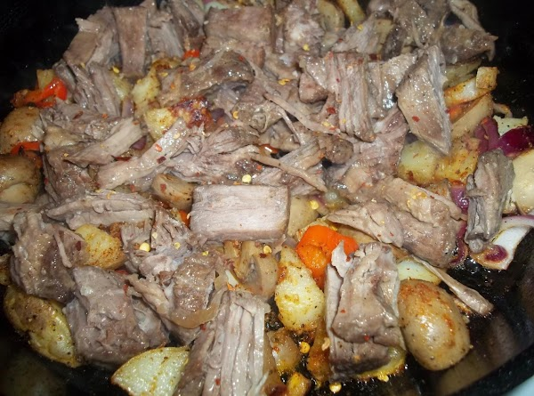 With a spatula turn vegetables, to brown other side; and add the beef to...