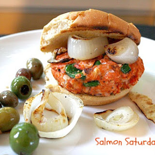 Salmon Burgers with Poblano Peppers and Pepper Jack Cheese for Salmon Saturday.