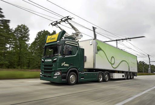 One of the Scania electric trucks that will operate on the German eHighway test routes. Picture: SCANIA