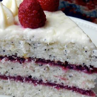 Lemon Poppy Seed Cake with Raspberry Filling.