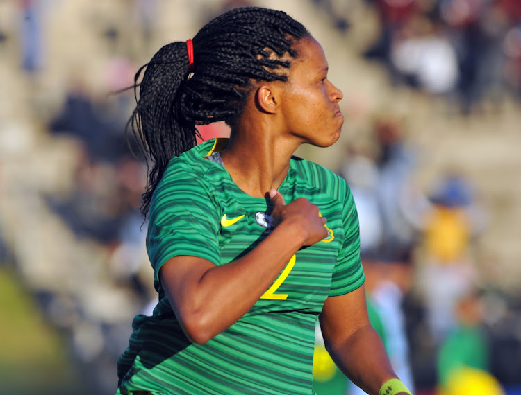Banyana Banyana striker Jermaine Seoposenwe celebrates after scoring during the Cosafa Women's Championship group match against Botswana at the Wolfson Stadium in Port Elizabeth on Friday September 14 2018.