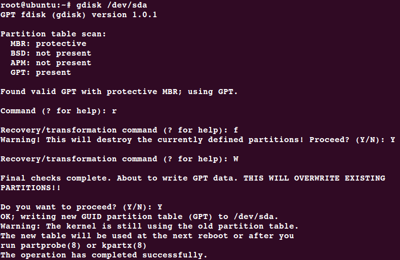 Steps to Convert MBR to GPT Ubuntu / Debian with Images