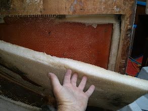Photo: The aft section of  insulation was detached from ice box and fell away cleanly once I cut the perimeter with a razor kinfe.I am seeking to install 4 to 6 inches of insulation.  The original ice box only has 1-1/2 to 2 inches of insulation.