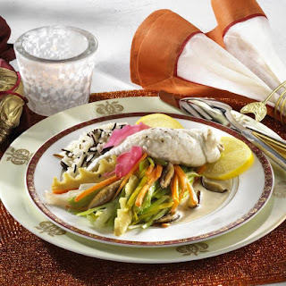 Baked Sole with Rice and Mixed Vegetables.