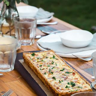 Prosciutto Leek Quiche with a Sunflower Kernel Crust.