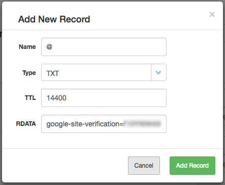 The TXT record is added in the Add New Record dialog box.
