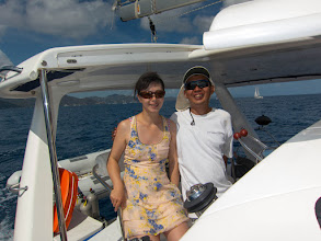 Photo: A relaxing moment in the cockpit while sailing to The Bight on Norman Island