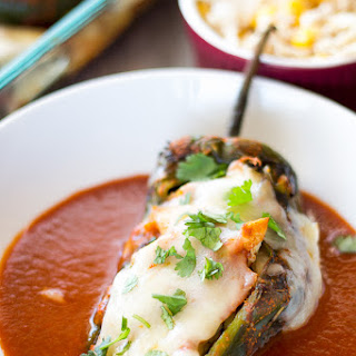 Skinny Chicken Enchilada Stuffed Chilies