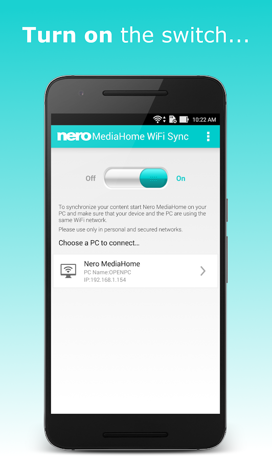 Nero MediaHome WiFi Sync- screenshot