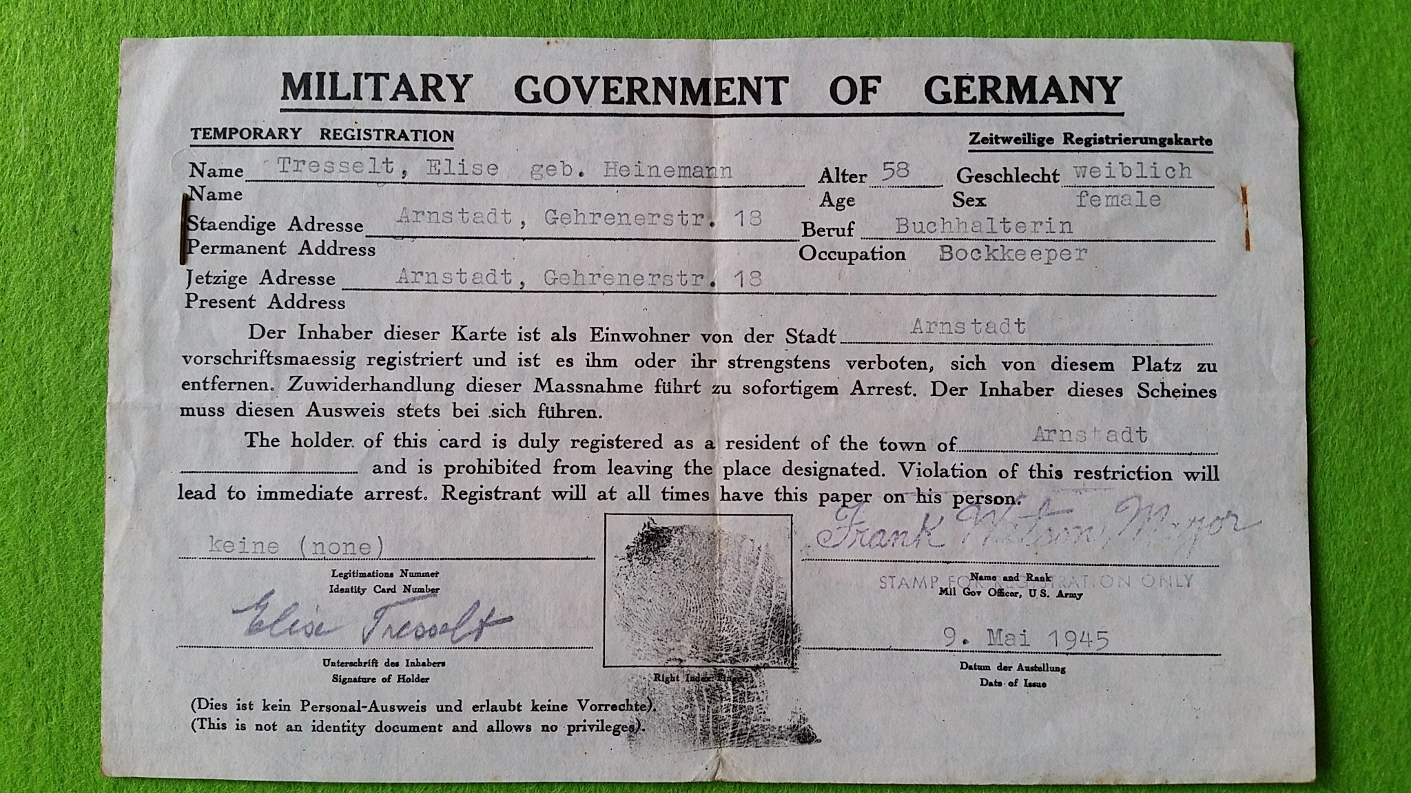 Passierschein, 9. Mai 1945, Military Government of Germany