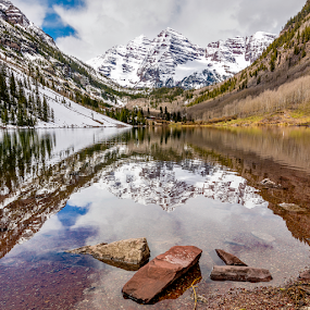 MAroon Bells Colorado by Charles Knowles - Landscapes Mountains & Hills ( mountains, reflection, nature, snow, beautiful, colorado, forest, rockies, lake, maroon bells, spring )