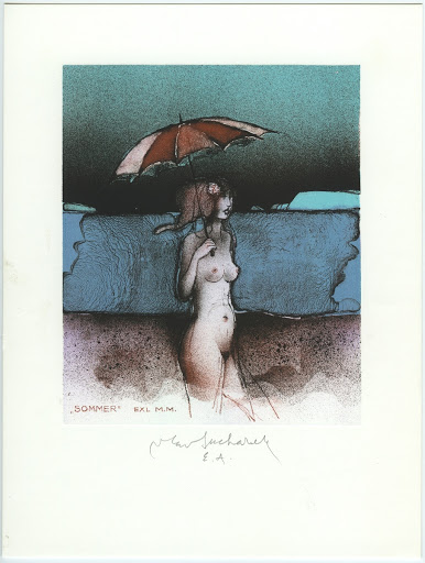 "243. Bookplate. M. M. /Exl ""Sommer""/ (M. Meulemans). Nude girl with umbrella."
