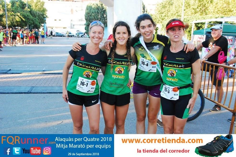Equipo ganador femenino Media Maratón por equipos Alaquàs 2018