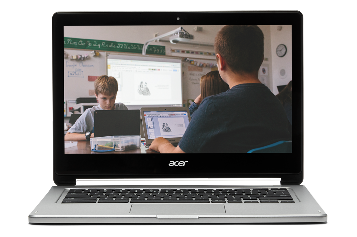 If book reports rewrite the rules You Chromebook. Image of a Chromebook showing kids working in a classroom.