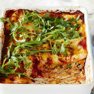 Vegetable Cannelloni Baked in Bechamel Sauce.