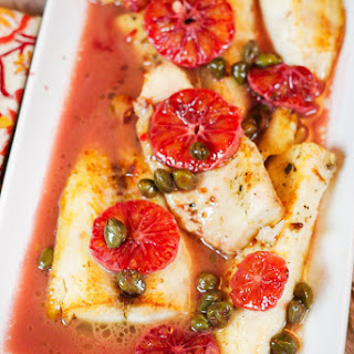 Blood Orange Cobia with Capers.