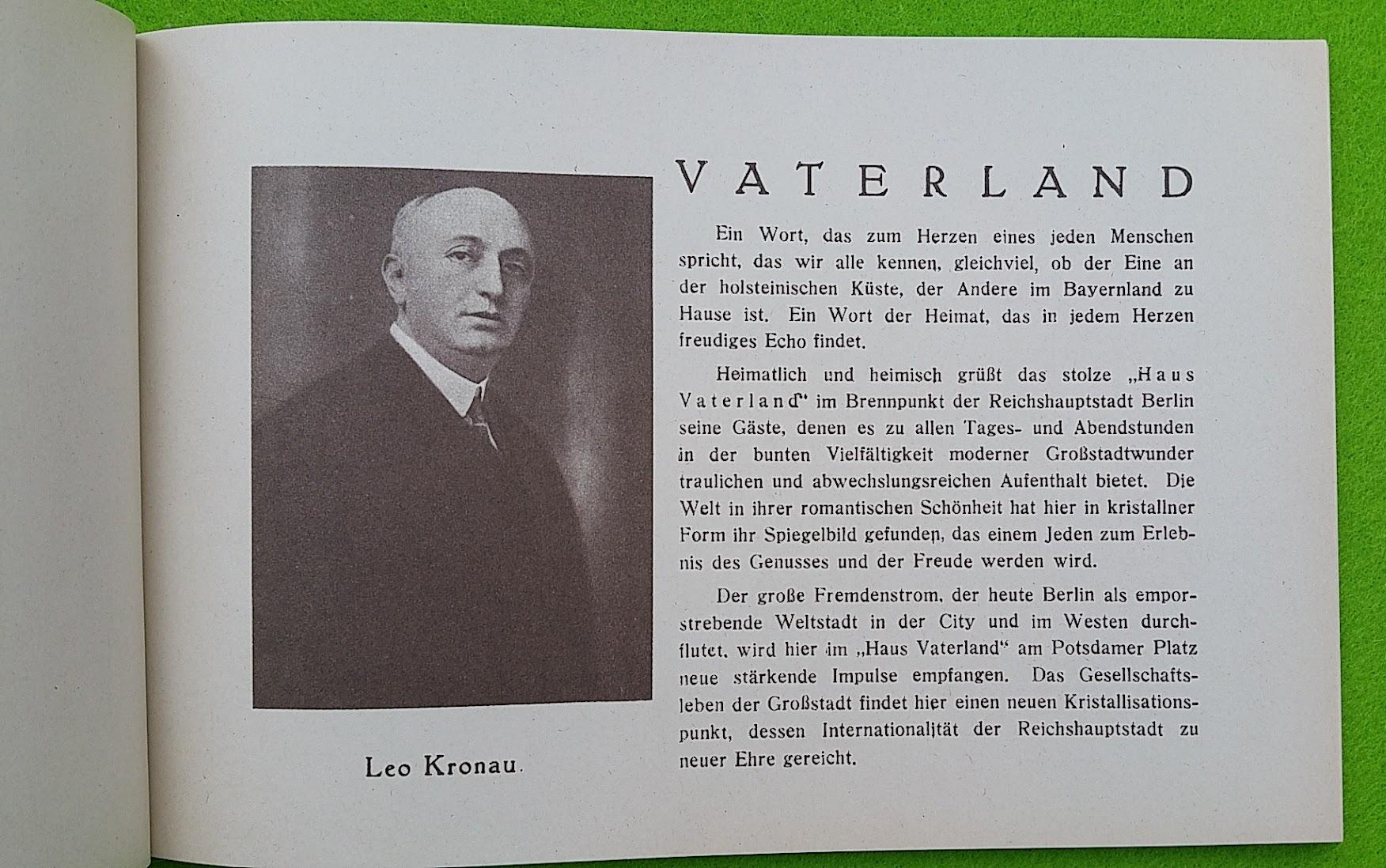 Begleitheft zur Eröffnung von Haus Vaterland am Potsdamer Platz, Berlin, 31. August 1928 - Leo Kronau
