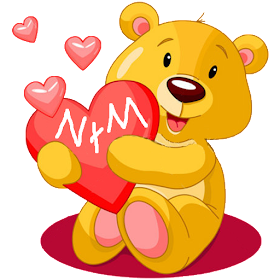 Sticky teddy bear love heart