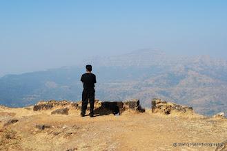 Photo: Raje Gad Khasa jamalay..... Sandeep on Padamavati Machi.... looking at Fort Torana