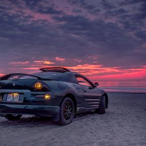 Mitsu Sunrise by Michael Otero - Transportation Automobiles ( car, sand, stuck in sand, beach, rims, cloud formations, contrast, daryl benson, headlights, saturation, benson filter, cloud, mistu, import, sunrise )