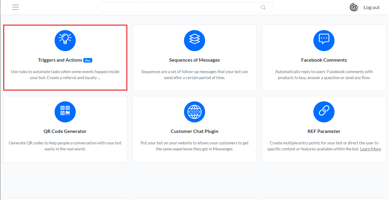 Messenger Marketing Triggers & Actions tool