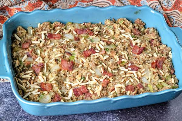 Almond-bacon Bread Stuffing Ready To Serve.