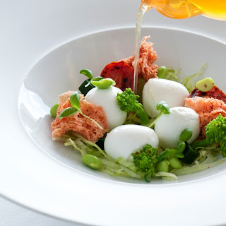 Liquid Caprese – mozzarella with tomato and dashi broth