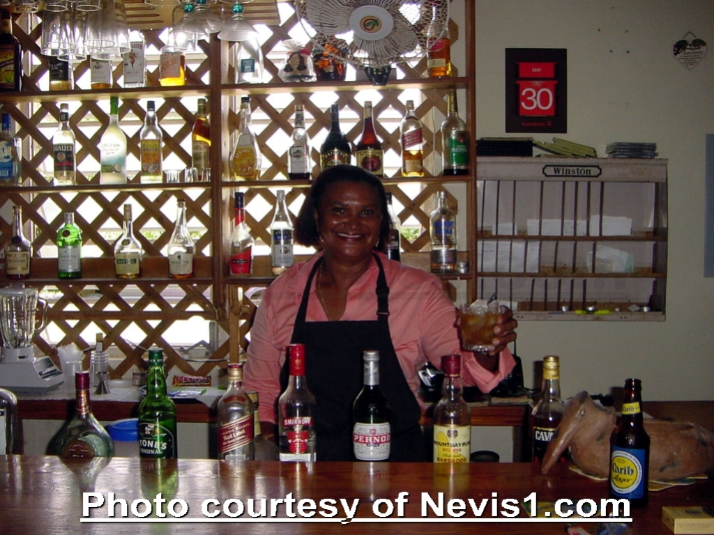 Photo: Dossie at Pemos Restaurant. Camps, Nevis. http://nevis1.com/pemos-restaurant.html