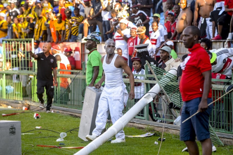 Orlando Pirates supporters on rampage during the Absa Premiership match between Mamelodi Sundowns and Orlando Pirates at Loftus Versfeld Stadium on February 11, 2017 in Pretoria.