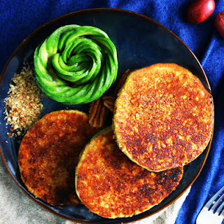 Pecan Praline Crusted Avocado Buttermilk Pancakes