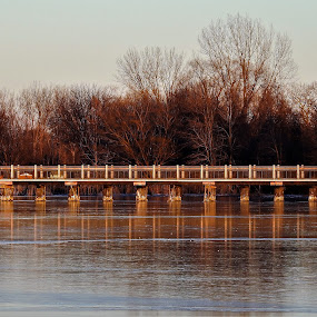 by Kathy Woods Booth - Buildings & Architecture Bridges & Suspended Structures ( reflection, ice, bridge, mirrored reflections, icy )
