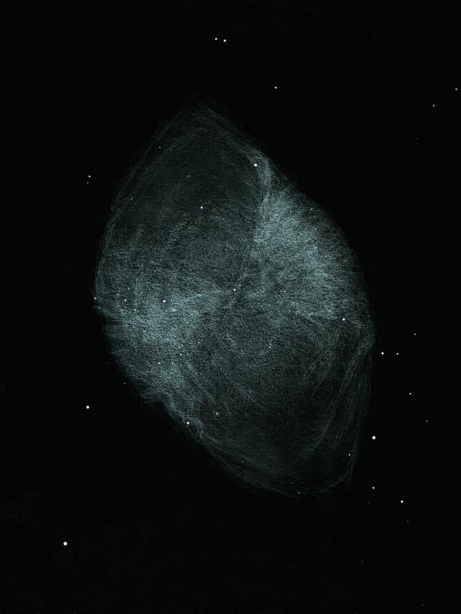 """Photo: M 27, """"Dumbell"""", vue le 10 août 2013 au CAV par turbulence faible, dans mon T406 à 220X sans filtre. L'excellence du seeing a permis de voir tout autre-chose que du flou, en particulier une texture """"velue"""" a pu être perçue."""