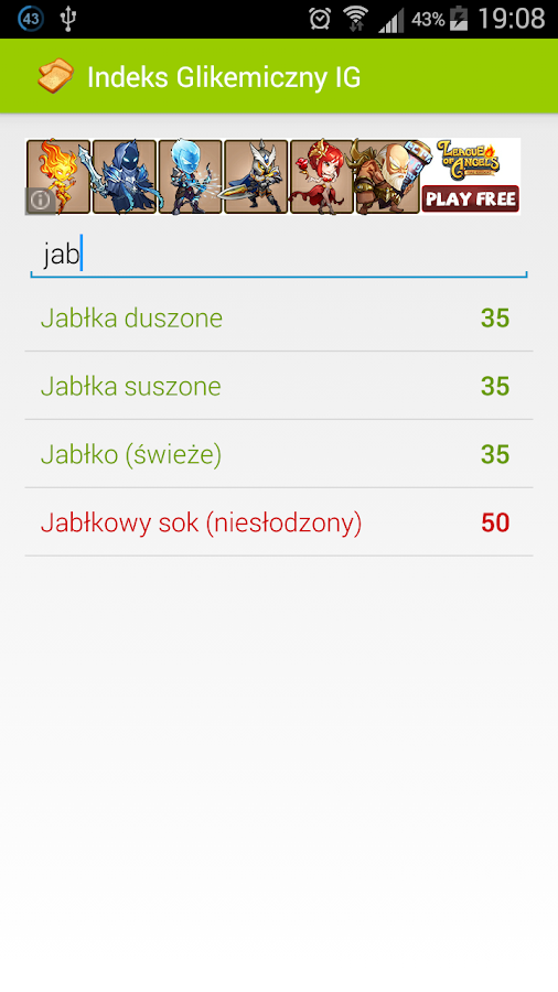 Indeks Glikemiczny IG- screenshot