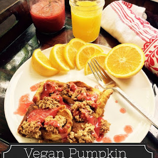 Breakfast for Dinner – Pumpkin French Toast Casserole with Raspberry Syrup #MeatlessMonday