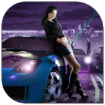 Girls Racing Car Icon