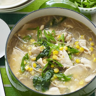 Chicken, Corn And Noodle Soup.