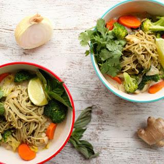 Coconut Vegetable Soup with Explore Cuisine's Organic Edamame Noodles.