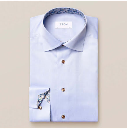 ETON Light blue signature twill daisy details slim fit
