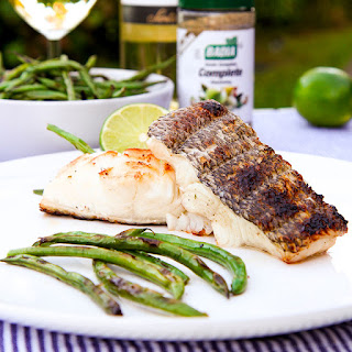 GRILLED SEA BASS marinated with white wine and herbs