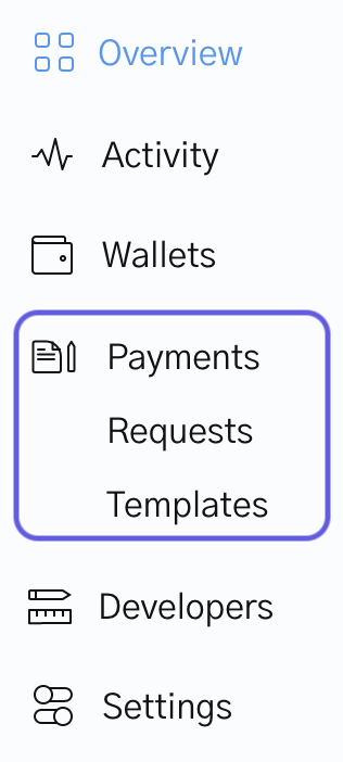 Image of Payment templates on OpenNode dashboard