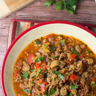 Sausage Stew with Eggplant and Celery.