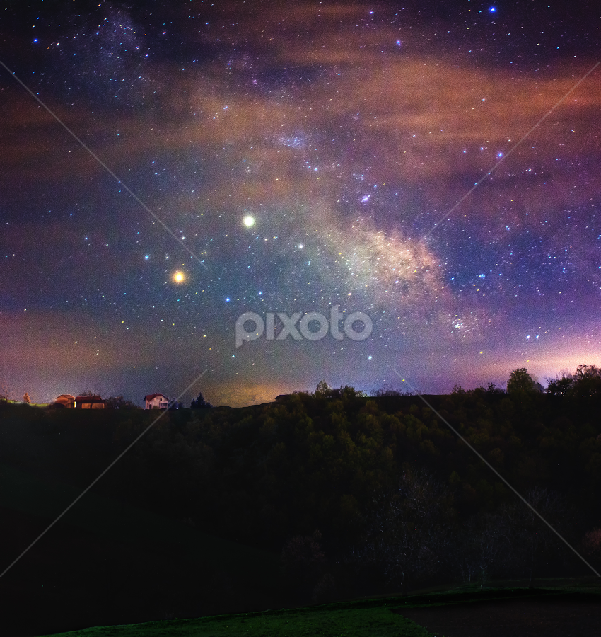 Just another starry night by Nermin Huskić - Landscapes Starscapes ( sky, milky way, nature, astrophotography, night, milkyway, stars, clouds, scenic, trees, house, scene, astro, outdoors, grass, galaxy, forrest, landscape,  )