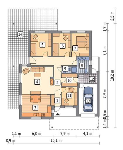 Przestrzenny - C370 - Rzut parteru