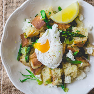 Asparagus Panzanella with Poached Eggs Recipe
