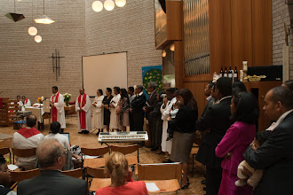 Photo: Founding members of the Malagasy Lutheran Church of Brussels are recognized.