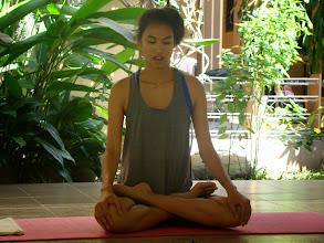 Photo: Tanya, a student from Philippines demonstarting PADMASANA - Lotus Pose