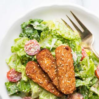 Cashew-less Vegan Caesar Salad with Baked Tempeh Strips