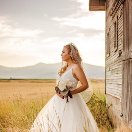 Kalle Bridal Photography in Grace Idaho around an overgrown barn by Elizabeth Loera - Wedding Bride ( idaho, grace, overgro, bridal, barn, wedding, photography )