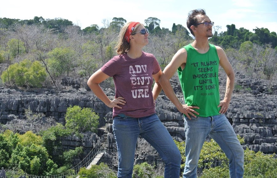 a happy couple with motivational t-shirts enjoying traveling to madagascar together