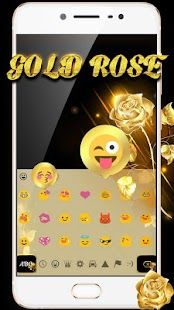 Gold glitter rose keyboard theme - náhled